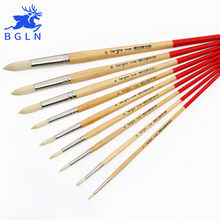 BGLN Pointed Oil Paint Brush Mix Size Solid Wooden Pole For Drawing Artist Oil Acrylic Watercolor Paint Brush Art Supplies 7110R