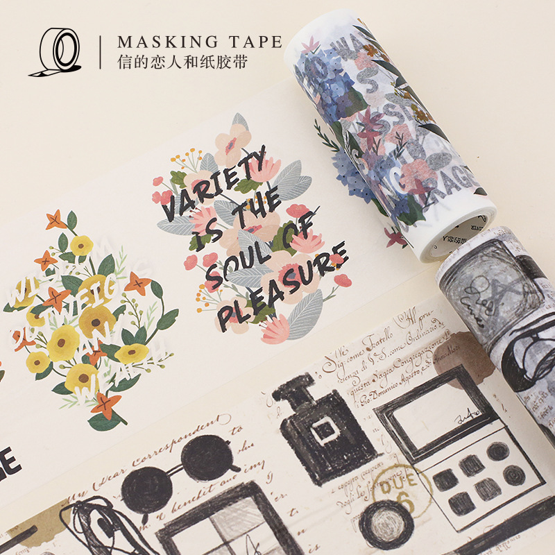 1 pcs Washi Tapes DIY Retro WangChai Flowers Paper Masking tape Decorative Adhesive Tapes Scrapbooking Stickers 10cm*5m 1pc black and white grid washi tape japanese paper diy planner masking tape adhesive tapes stickers decorative stationery tapes