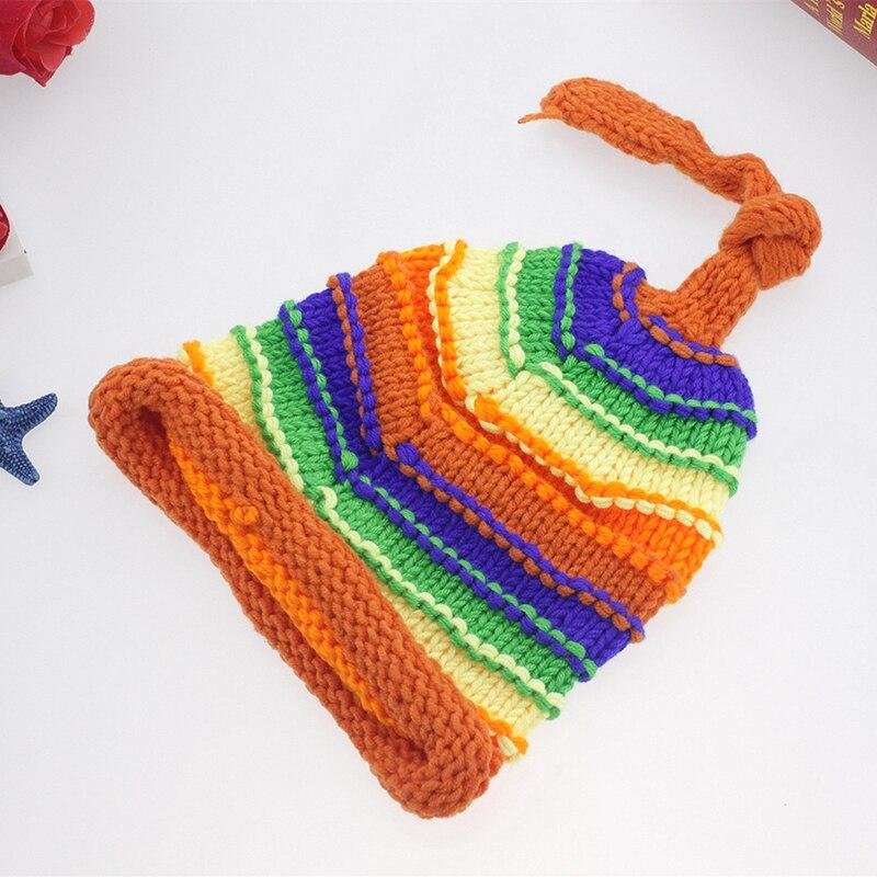 44fe2df3f46 Newborn Baby Girl Boy Crochet Rainbow Hat Photography Props Infant Tiny Baby  Photo Shoot Hat Caps Studio First Birthday Props Tags