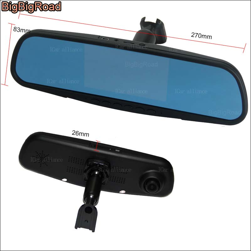 BigBigRoad For toyota land cruiser Dual Lens Car DVR Blue Screen rearview mirror Video Recorder Dash Cam with special bracket bigbigroad for vw tiguan routan car dvr blue screen dual lens rearview mirror video recorder 5 inch car black box night vision