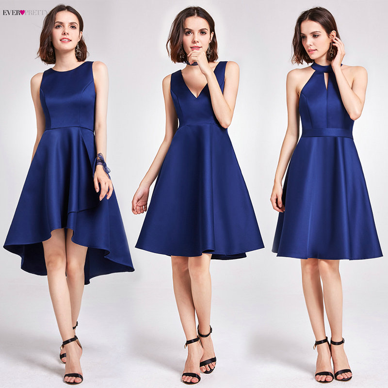 Cocktail     Dresses   Ever Pretty Sleeveless High Low Above Knee Asymmetrical Hem Round Neck Satin   Cocktail   Wedding Party   Dresses