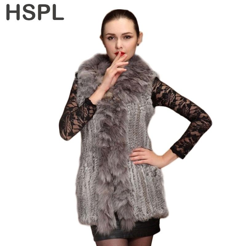 HSPL 2017 Neue Großhandel frauen Lange Echte kaninchen gestrickte - Damenbekleidung - Foto 1