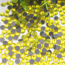 Bright Yellow SS6-SS30 Hot Fix Rhinestones Iron On For Clothes Glue back Glass Crystal Clear Stone Flatback