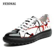 VESONAL High Quality Graffiti Genuine Leather PU Patchwork Men Shoes Fashion Platform Mens Shoes Casual Derby Designer SD6100