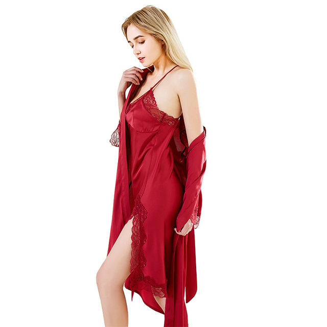 5ad50d92d0 Best Price Sexy Silklike Lace Robe   Gown Sets TWO PIECES Bathrobes  Nightdress lingerie femme Sleepwear