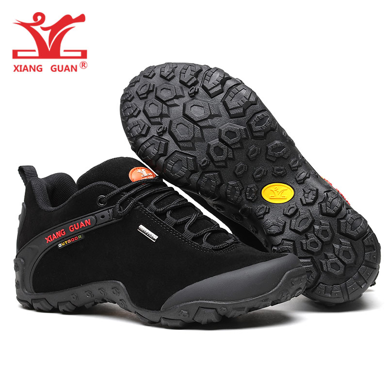 Man Hiking Shoes for Men Waterproof Trekking Boots Cow Genuine Leather Suede Black Sports Climbing Shoe