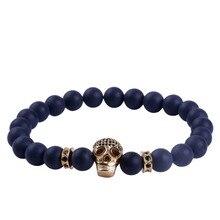 24K Gold Skull Bracelet 8mm Natural Black Matte Onyx Stone CZ Beaded Energy Bracelet for Men