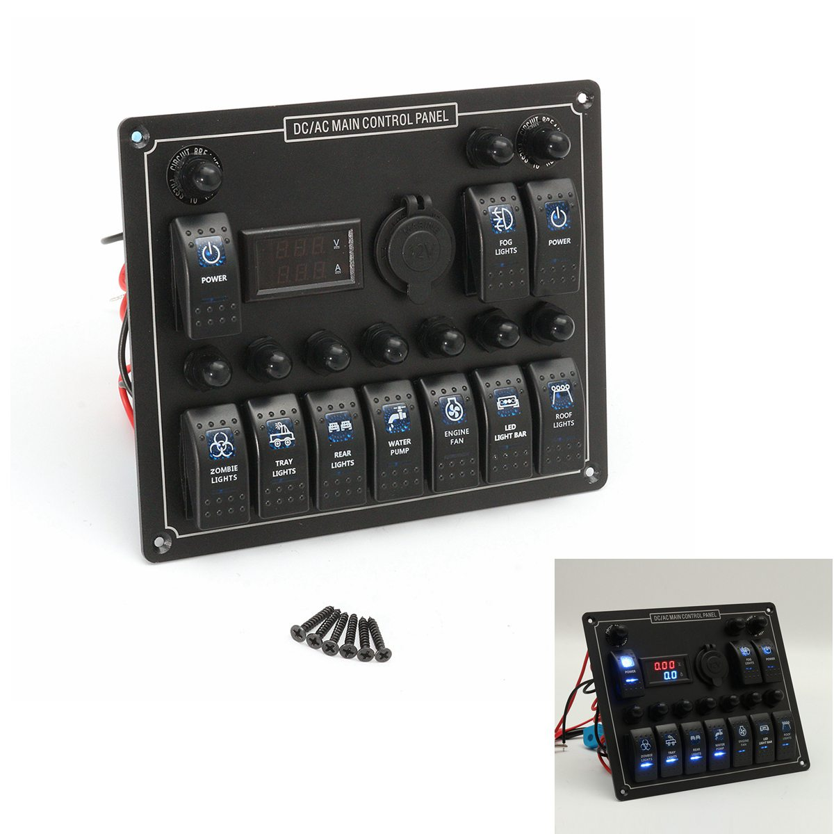 цена на 12-24V 10 Gang Boat Marine Blue LED Rocker Switch Panel Circuit Breaker Voltmeter