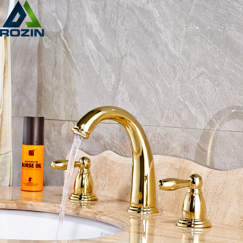 European Style Basin Faucet Golden Widespread Bathroom Faucets Dual Holder Three-hole Cold & Hot Mixer Sink FaucetEuropean Style Basin Faucet Golden Widespread Bathroom Faucets Dual Holder Three-hole Cold & Hot Mixer Sink Faucet