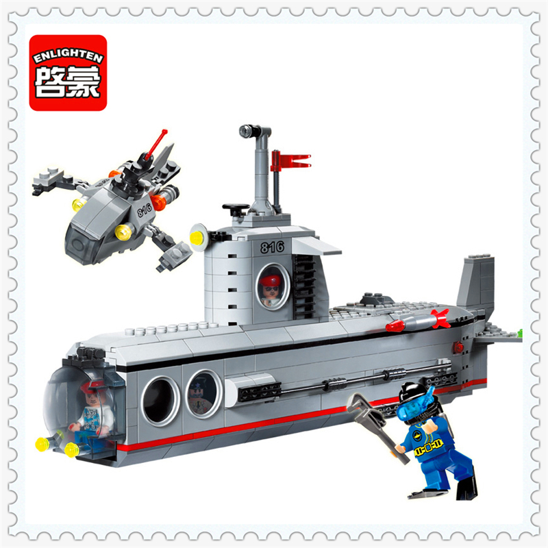382Pcs Military Submarine Boat Model Building Block Toys ENLIGHTEN 816 DIY Figure Gift For Children Compatible Legoe повязка на голову для младенца baby s joy цвет бежевый k 22