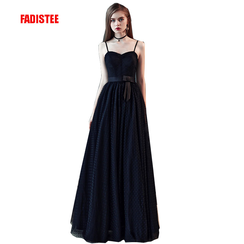 FADISTEE New arrival modern party   dress     evening     dresses   prom tulle Vestido de Festa black strapless pattern tulle long style