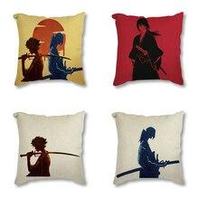 Cushion-Cover Decorative Throw-Pillow-Case Sofa-Seat Linen Art-Printed Japanese Samurai