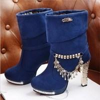 Shuangxi.jsd 2018 Winter Women Boots High Quality Luxury High heel Boots Metal Tassel Ladies Shoes Plus Size Super High 10.5cm