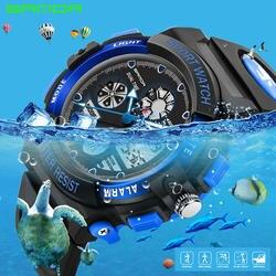Сандалии детские спортивные часы Мода светодиодный цифровой кварцевые часы для мальчиков и девочек Водонепроницаемый Наручные часы для