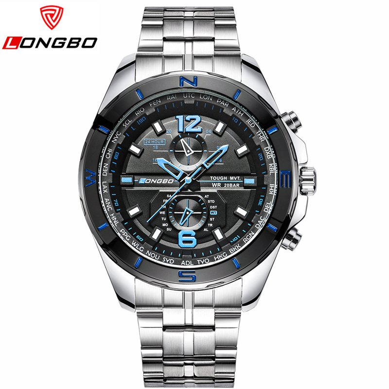 longbo 8787 mens watches top brand luxury stainless steel