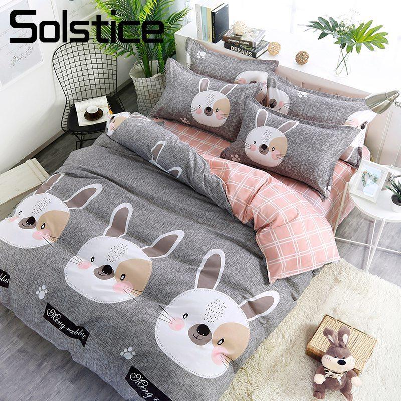 Solstice Home Textile Kid Girl Teen Bedding Suit Bunny Rabbit Gray Pink  Plaid Duvet Cover Pillowcase