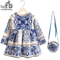 Retail 2-8years Dress+Bag/set New Cute Kids Baby Girl Summer Spring Fall Long-Sleeve Perfume Princess Flower China blue