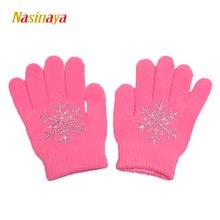 Nasinaya Figure Skating Gloves For Kids Girl Adult Magic Knitted Mittens Elastics Warm Fleece Ice Skating