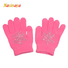 Nasinaya Figure Skating Gloves For Kids Girl Adult Magic Knitted Mittens Elastics Warm Fleece Ice Skating Snow Protect Hands 1(China)
