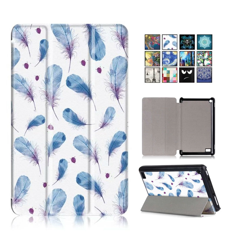 2017 New Kindle Fire 7 inch Slim Tablet Case Cover Colorful Print PU Leather Fundas For Amazon New Fire 7 2017 Stand Shell Skin new kindle fire hd8 flip pu leather case cover colorful print luxury protective stand shell for amazon new kindle fire hd 8 2016