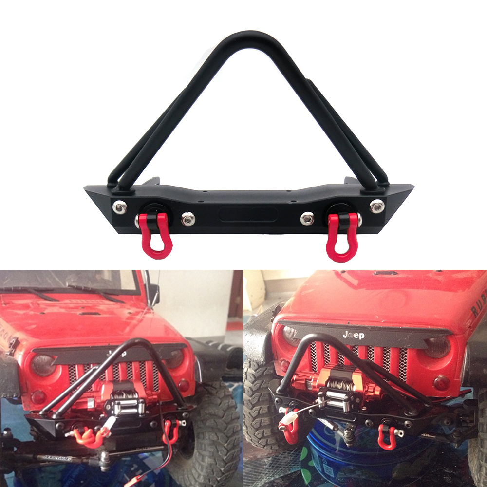 Metal Front Bumper for 1/10 RC Crawler Jeep Wrangler Rubicon Axial SCX10 RC4WD D90