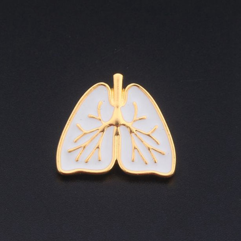 Anatomical Heart Brooch Gold White Enamel Anatomy Human Organ Heart Broches and Pins Enamel Pin Medical Jewelry Freeshipping