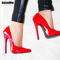 Clásico de cuero de las mujeres bombas de punta estrecha sexy señora delgada de tacón alto OL solos zapatos femeninos versado papel vestido de fiesta zapatos