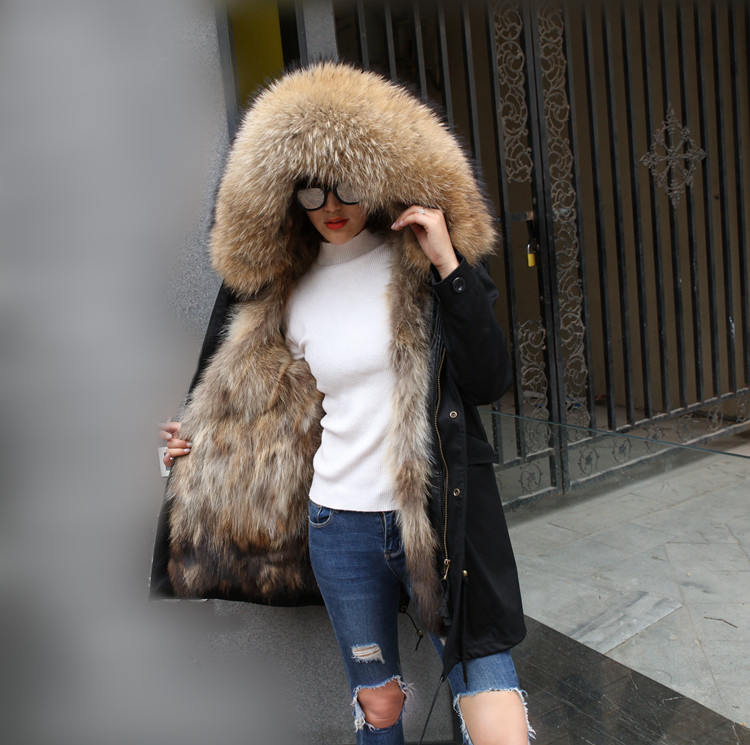 Maomaokong2019 long winter jacket women outwear thick   parkas   real warm fox fur liner raccoon natural real fur collar coat hooded