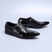 Black Business Men Formal Dress Shoes Big Grain Man Leather Shoes Social Sapato Male Oxfords Fashion Slip On Party Wedding Shoes