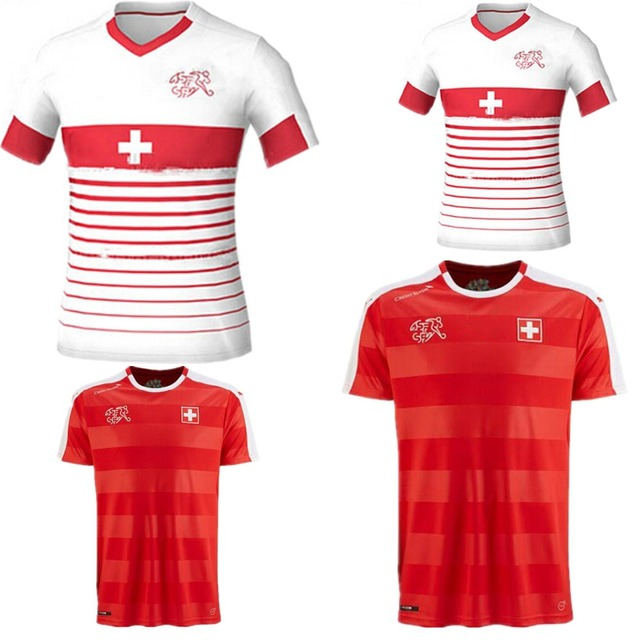 d29093211b1 2016 Switzerland National soccer jersey 16 17 European Xhaka Mehmedi  Shaqiri Switzerland Home Red Away 2017 Football Shirt