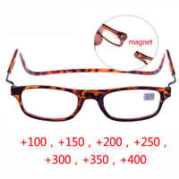 Hot Optical Magnet folding Reading Glasses men women hung around the neck anti-out glasses black red +100 +150 +200+250