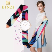 2019 BINZI Women Watches Luxury Quartz Waterproof Clock New Creative Silk Strap Lady Wrist Watch Female relogio feminino