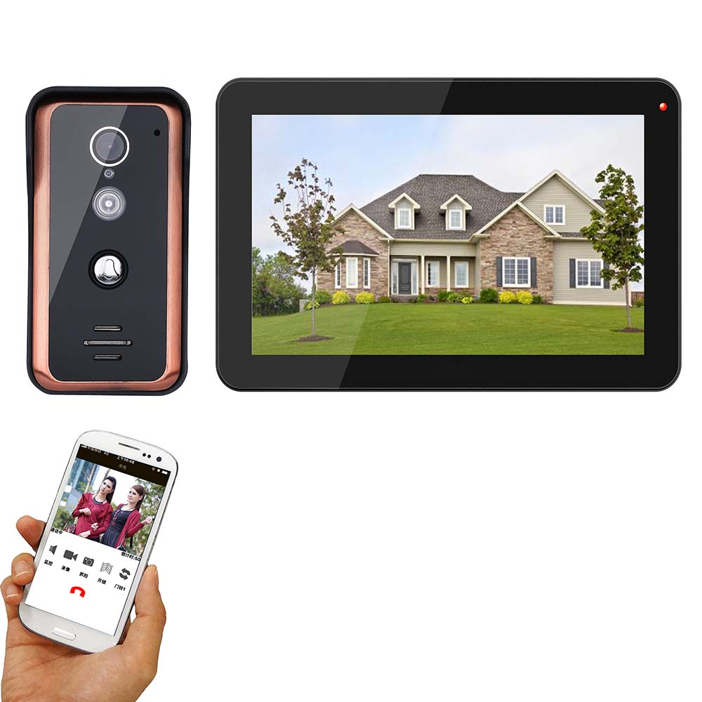 MAOTEWANG 9 Inch Wireless  Wifi IP Video Doorbell Intercom Entry System With Wired IR-CUT HD 1000TVL Wired Camera