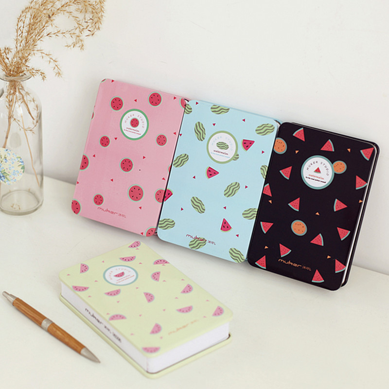 cartoon watermelon iron cover a6 cute colored blank pages notebook journal note book memo pad hardcover paper outer box dn1685 in notebooks from office