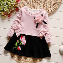 2 Pcs Suits New Fashion Girls Sleeveless Dress+ Long Sleeve Ruffles Shirts Kids Flower Printing Dresses Children Clothing Baby