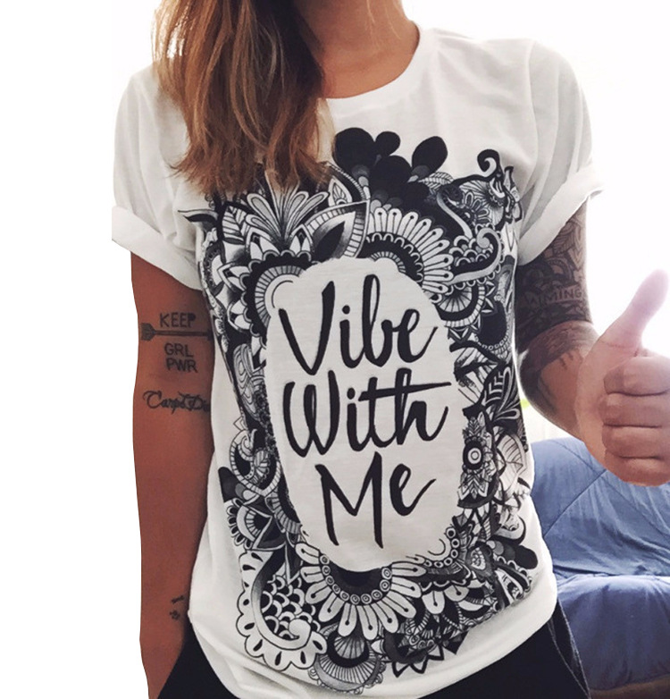 2016 Summer New Fashion Women White Tops 7 Prints T-shirt Short Sleeve O neck Girl T Shirt Vestidos S M L XL XXL