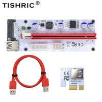 TISHRIC 10 Pcs 008 S Pci Express Riser Card 1x16x3 in 1 Pci-E Extender Per BTC minatore SATA A 4Pin 6Pin Molex Cavo Adattatore USB