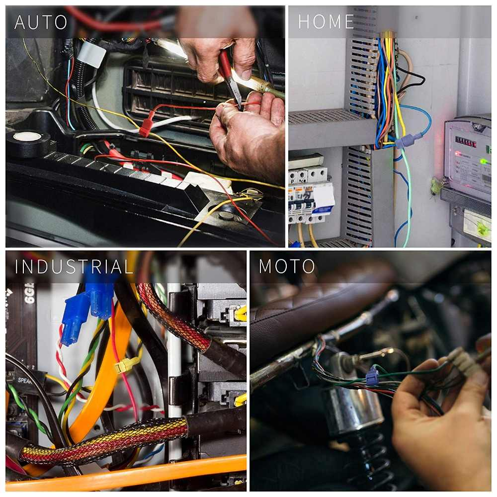 60 120pcs wire cable connectors terminals crimp scotch lock t tap quick splice electrical car [ 1000 x 1000 Pixel ]