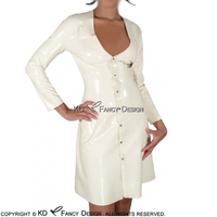 White Nurse Sexy Latex Dress With Cilp And Buttons At Front Rubber Dress Bodycon Playsuit LYQ 0050