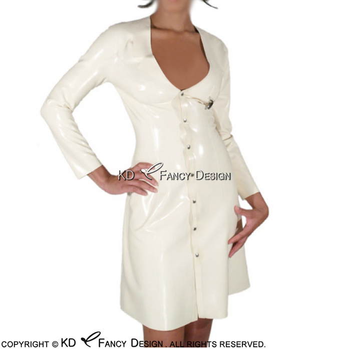 White Nurse Sexy Latex Dress With Cilp And Buttons At Front Rubber Dress Bodycon Playsuit LYQ-0050