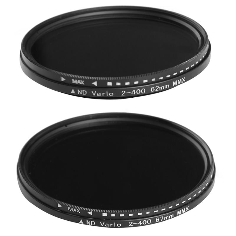 62mm/67mm Filter ND Fader Neutral Density Adjustable ND2 to ND400 Variable Filter for DSLR Camera nd2 400 variable nd filter for 62mm lens camera black transparent