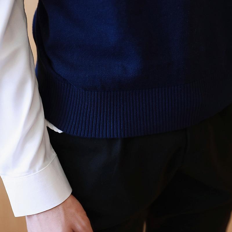Kazak Erkekler 100% Pamuk Katı V Boyun Rahat Erkek Kazak Yelek Erkek - Erkek Giyim - Fotoğraf 5
