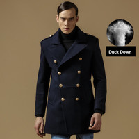 Winter Coat Men Wool Cotton Double Breasted Long Designer Jacket Thicken Mens Peacoat Size M 3XL A0837