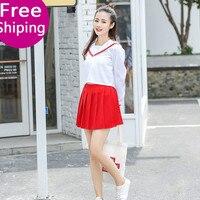 Female School Uniform Set Japan Korea Student Suit Navy Top+Skirts Cute Girls Cosplay Clothing Japanese Sailor Uniform