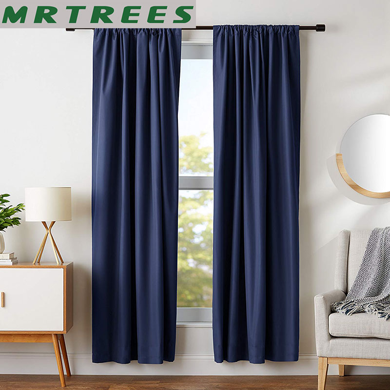 MRTREES Modern Blackout Curtains For Living Room Bedroom Window Treatment Blinds Solid Finished Window Blackout Curtains 1 panel