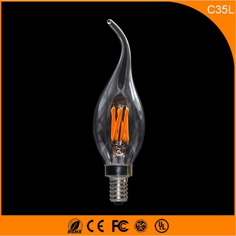 50PCS 3W E12 E14 LED Bulbs ,C35L LED Filament Candle Bulbs 360 Degree Light Lamp Vintage pendant lamps AC220V