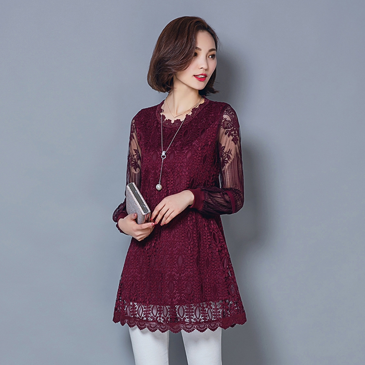 New Women Spring Autumn Casual Basic Lace Chiffon Blouse Hollow out Long sleeves Embroidery Top Shirt Solid Plus Size M~5XL 1