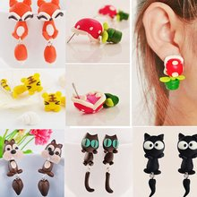 2019 New 100% Handmade Polymer Clay Animal Earrings Cute Cat Red Fox Lovely Panda Squirrel Tiger Stud Earrings For Women Jewelry(China)