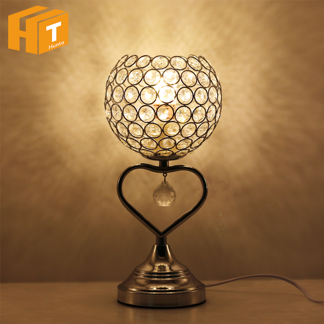 Modern Crystal Table Lamp Heart Shape Crystal Silver Desk Lamp With