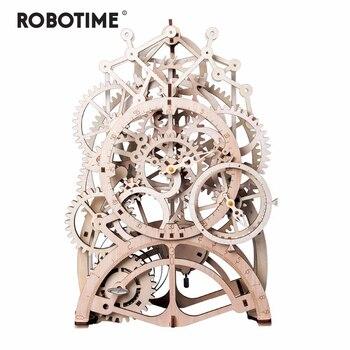 Robotime 4 أنواع DIY القطع بالليزر 3D نموذج ميكانيكي خشبي نموذج بناء مجموعات التجمع لعبة هدية للأطفال الكبار